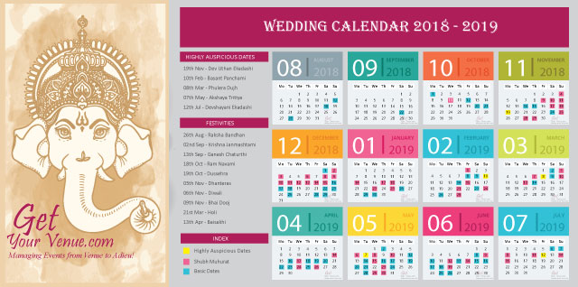 auspicious hindu wedding marriage dates 2018 -2019